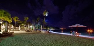 Dinner on the beach at Ambre Hotel, Mauritius.