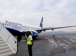 RwandAir flight 103 arriving in Kigali