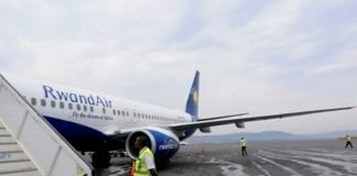 RwandAir flight 103 arriving in Kigali